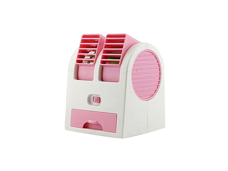 Mini USB Double Fan Air Cooler - White and Pink